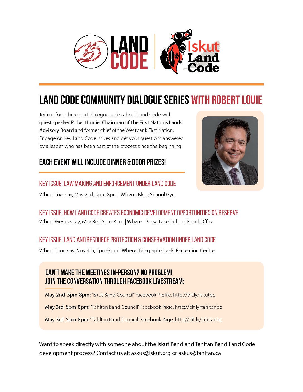 Upcoming Land Code Meetings (May 2,3,4)
