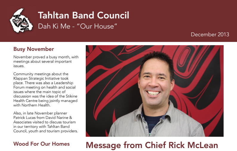 Tahltan Band Council Newsletter - December 2013