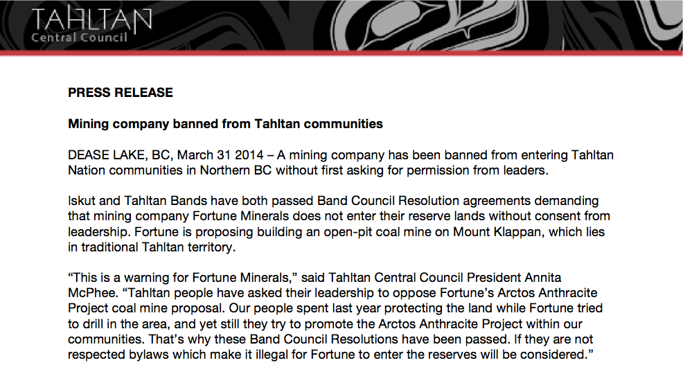 Press Release: Mining company banned from Tahltan communities