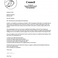 Letter Regarding Cabin Removal and Heritage Site Disturbance
