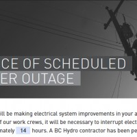Notice of scheduled power outage