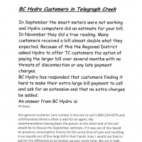 BC Hydro Notice- re: Customers in Telegraph Creek